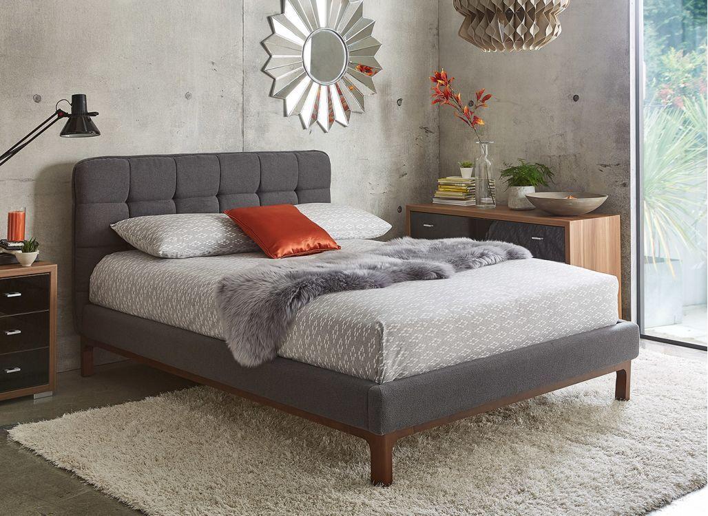 New Dillon Dark Grey Fabric Upholstered Bed Frame Upholstered