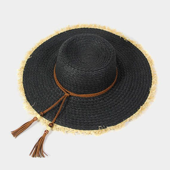 2e37be96debbc Black Frayed edge floppy sun hat with suede leather by 3StoresDown ...