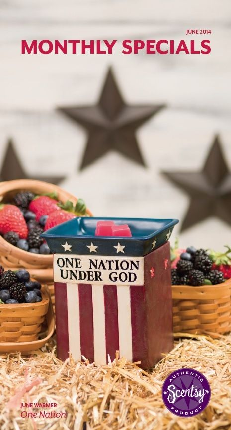#Scentsy #June #warmerofthemonth One Nation! Avail 6/1 and 10% off all June! Put your #patriotism on display with this handpainted tribute to the #starsandstripes. Featuring a phrase from the Pledge of Allegiance, One Nation is the perfect accent for #summer and #FourthofJuly decorating. #IndependenceDay #patriotic