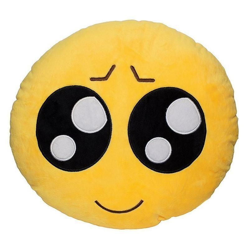 Expressionless Decorative Soft Plush Stuffed Yellow Emoji Smiley Emoticon Room Decor Throw Pillows