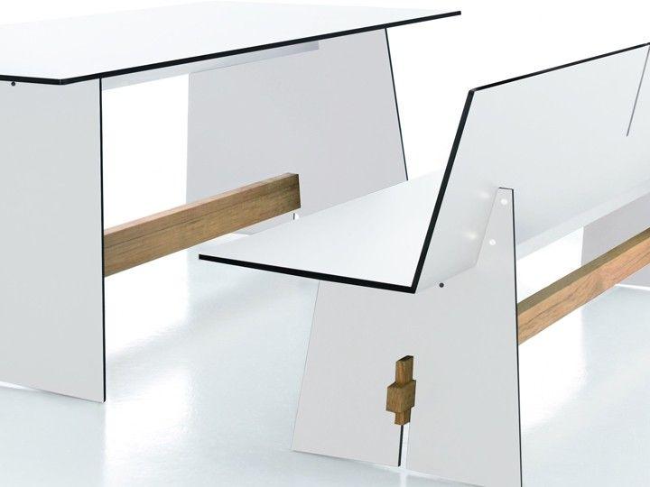 Conmoto Tension Esstisch In \ Outdoor Teak \ HPL Weiß 220x90cm - gartenmobel weis wetterfest