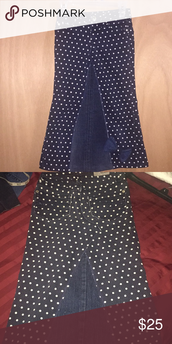 "3f305d857c6 Host pick 🎉🎊🛍Upcycled polka dot jean skirt Girls adorable skirt with polka  dots and bow Measurements laid flat Waist 11"" Hips 13"" Length 24 1 2  Justice ..."
