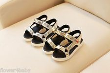 Girls Summer Gold Silver Casual Sandals Silver Faux Leather Shoes size UK 8.5-3