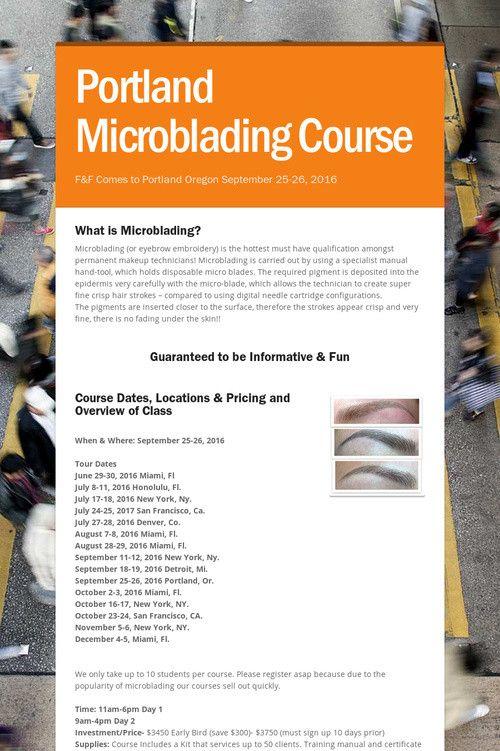 Portland Microblading Course | MICROBLADING TRAINING COURSE