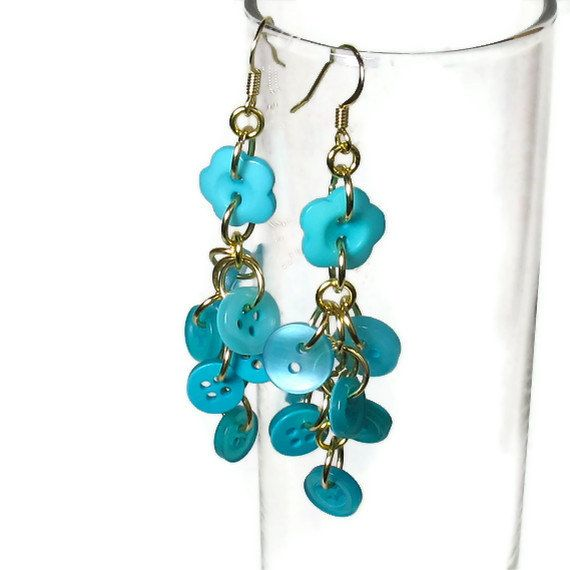 Cute Turquoise Button Earrings, Colorful Jewelry. $9.50, via Etsy.