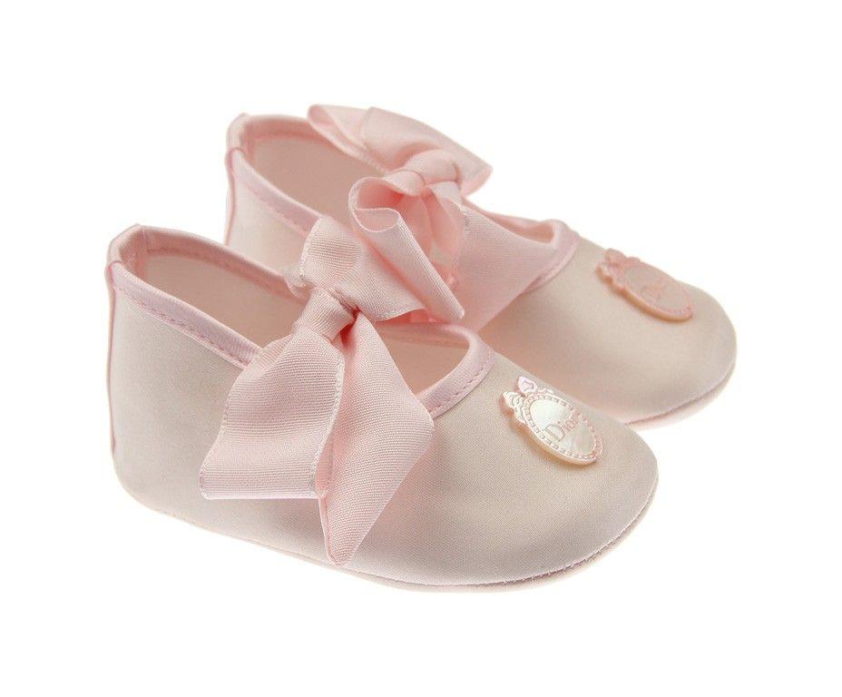 a00a360cf34 Another Dior Baby Girls Pale Pink Silk Pre Walker Shoes Chaussons Bébé