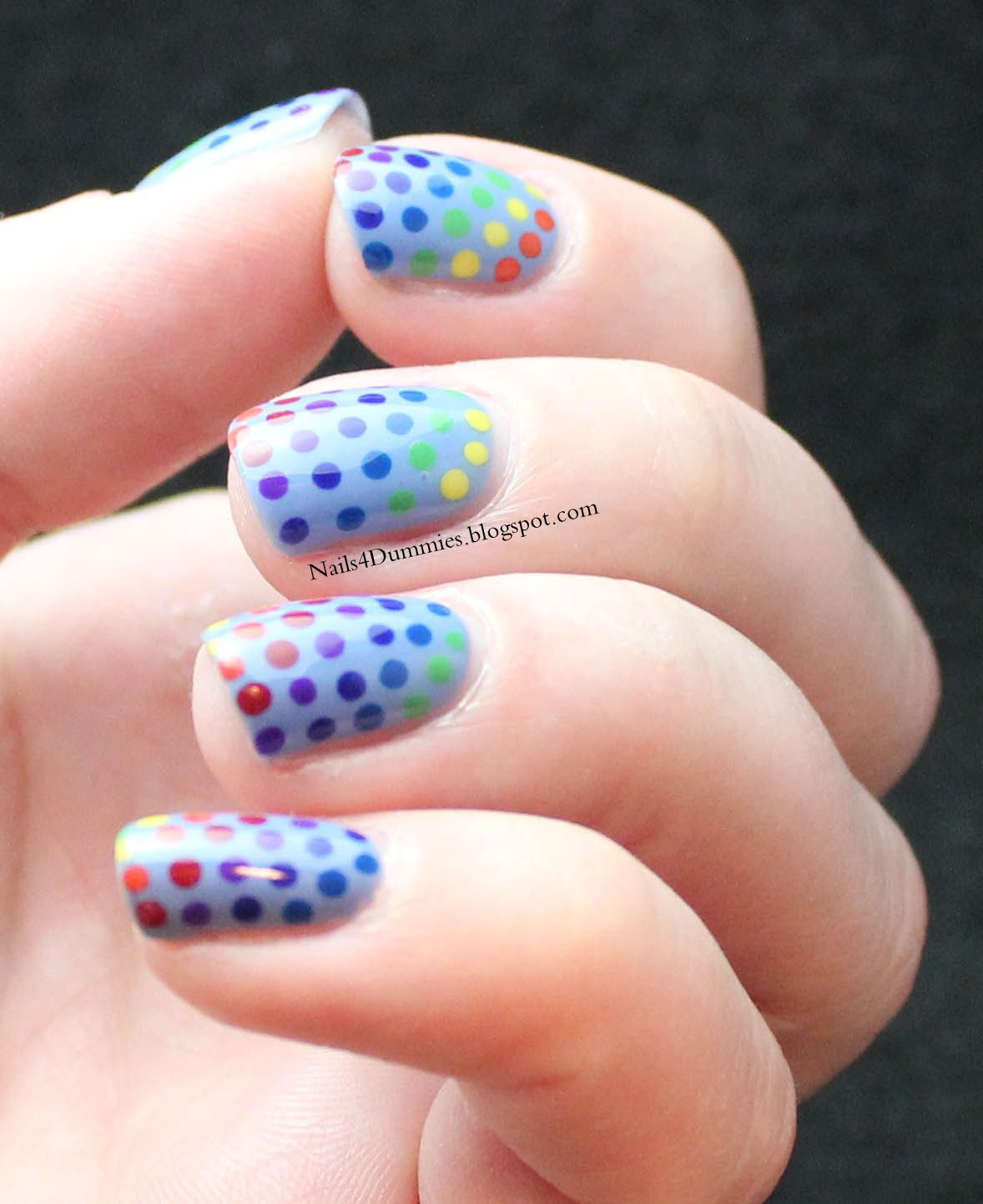 Nailsdummies rainbow dots nails nails pinterest rainbows