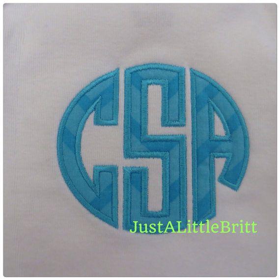 Custom Circle Monogramm applique Bodysuit $17