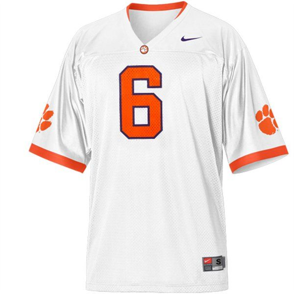 sports shoes 8fe9c b43fd Nike Clemson Tigers #6 Replica Football Jersey - White ...