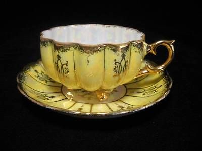 Vintage Royal Sealy Fine Porcelain 3 Footed Yellow Luster Gold Gilt Japan