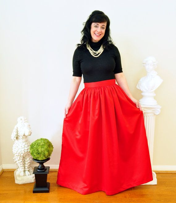 Red Duchess Satin Ball Gown Skirt Custom made long full pleated and ...