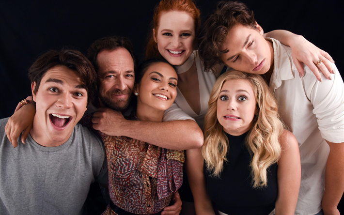 Download wallpapers Riverdale, 2017, Betty Cooper, Fred Andrews, Luke Perry, Cole Sprouse, Jughead Jones, Archie Andrews, Camila Mendes, Veronica Lodge, Madelaine Petsch, Lili Reinhart, Cheryl Blossom