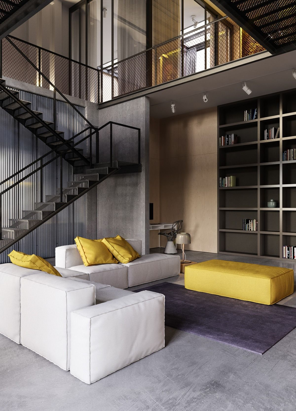 Concrete, coated steel, and unfinished wood are among the perfect ingredients that flavor this industrial interior. Unlike many industrial interiors, this one doesn't shy away from color – it makes immediate impression with a cool gray and yellow color theme, highlighting the incredible energy of the design.
