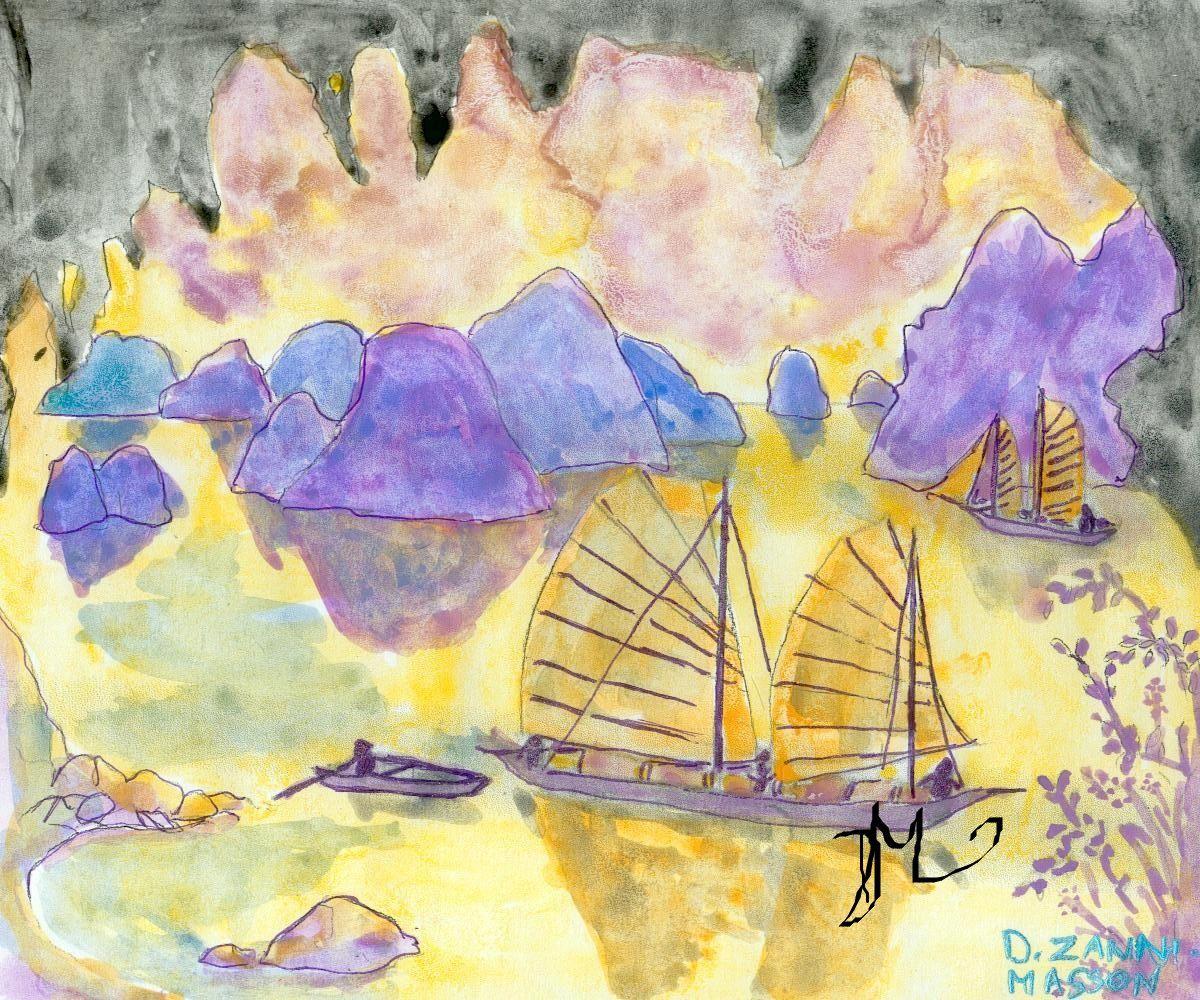 jonque dans la baie d\'Along, Asie, coloriage réalisé avec des ...