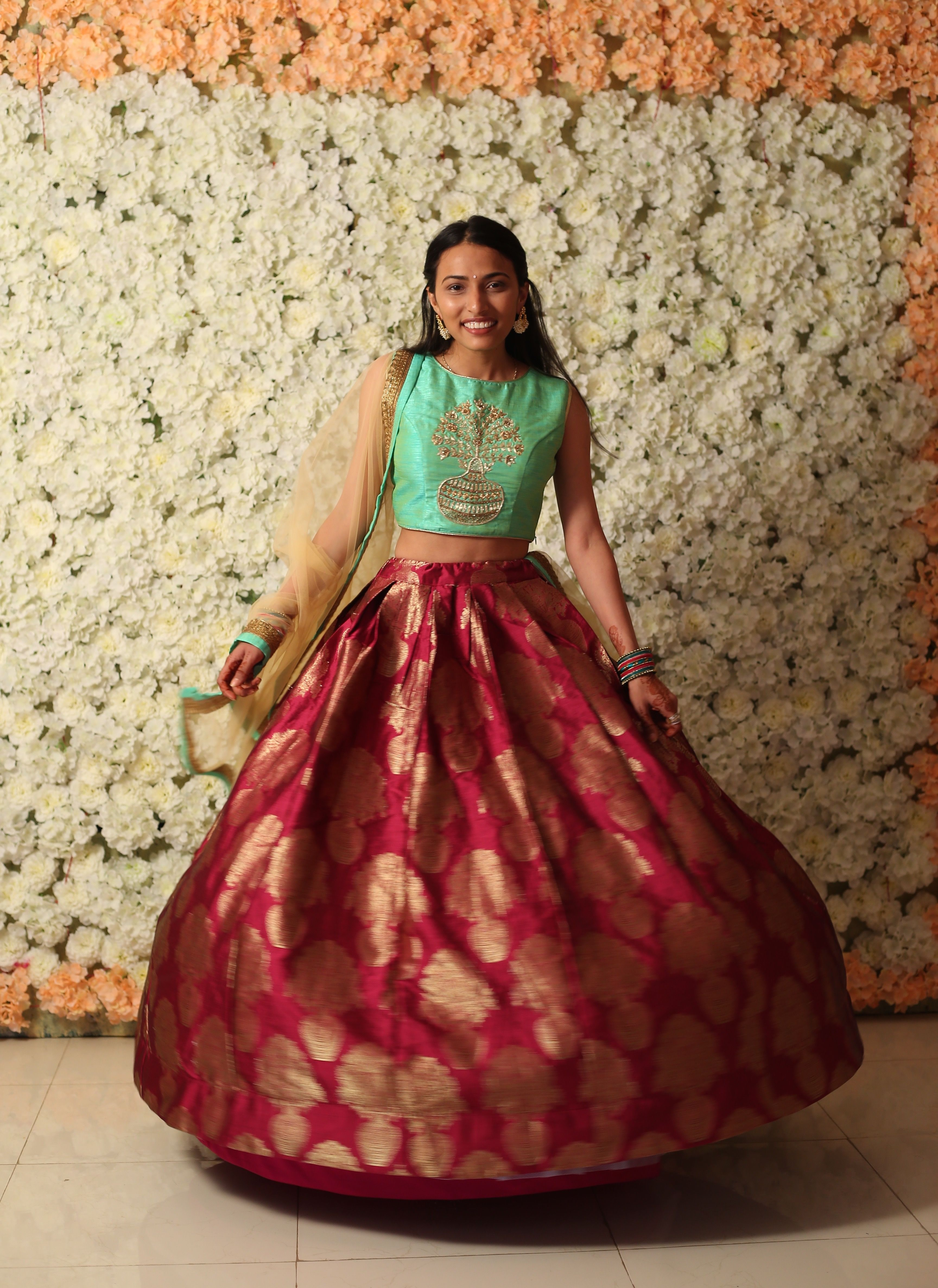 Indian Outfit High Waisted Skirt With Crop Top High Waisted Skirt Desi Fashion Fashion