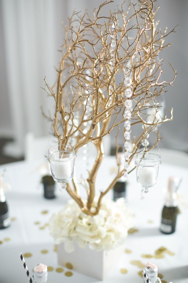 Gold manzanita branch centerpieces wedding