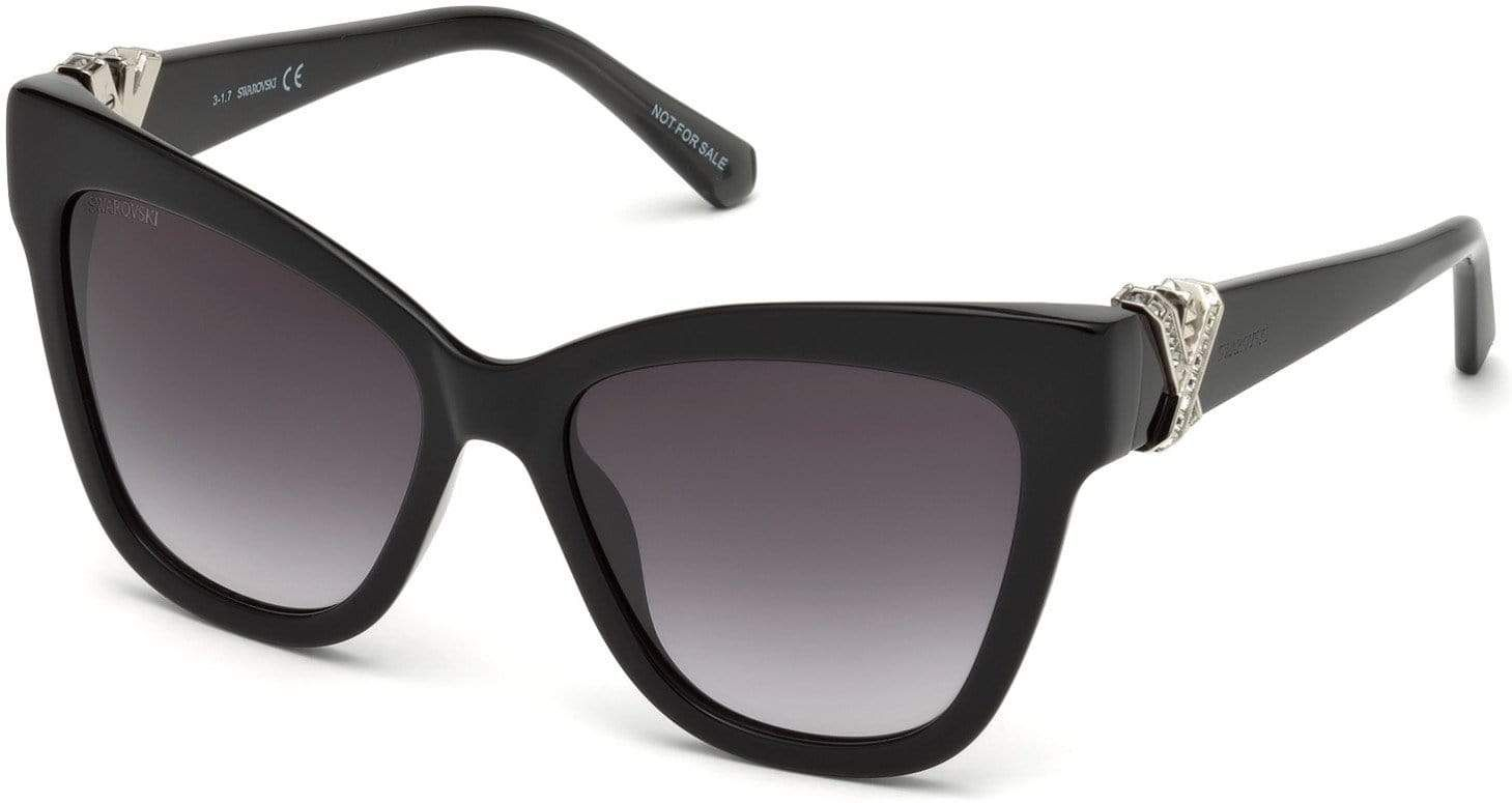 Swarovski SK0157 Butterfly Sunglasses - 55-17-140 / 01B-01B - Shiny Black / Gradient Smoke Lenses