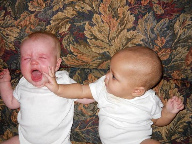 Mom the other baby will not stop smacking me,I told him no bottle for you. L0l