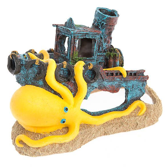 Top Fin® Sunken Boat with Octopus Aquarium Ornament fish