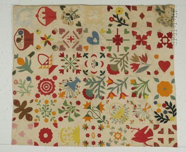 Sampler (from Barbara Brackman's Material Culture)  BIG red bird in the bottom right corner