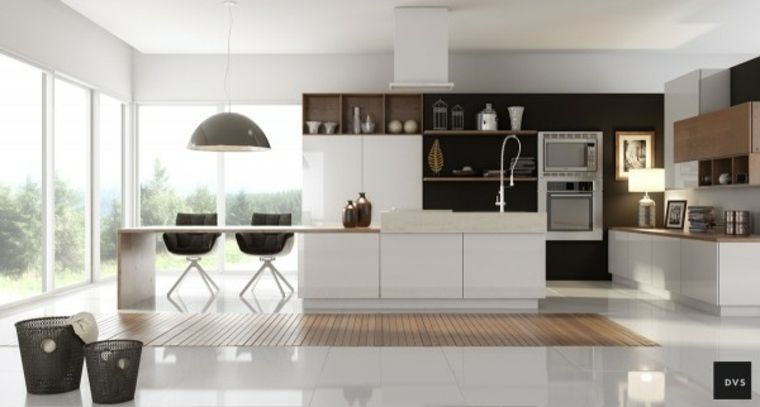 cuisine-noir-et-bois-plan-de-travail-blanc.jpg (760×407) | cuisine ...