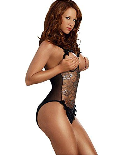 266a2b9b3c898 Ezfun Women Lingerie Sheer Cupless Crotchless Onepiece Teddy Lace Bodysuits  -- Find out more about the great product at the image link.