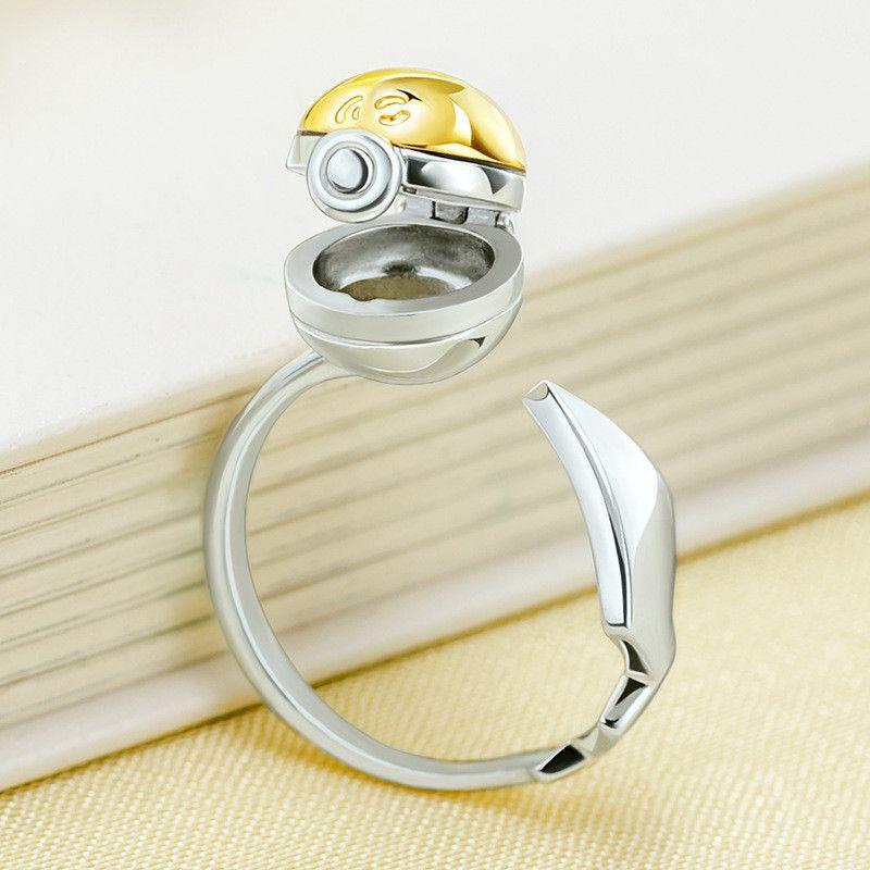 Pokemon GS Poke Ball 925 Sterling Silver Adjustable Ring