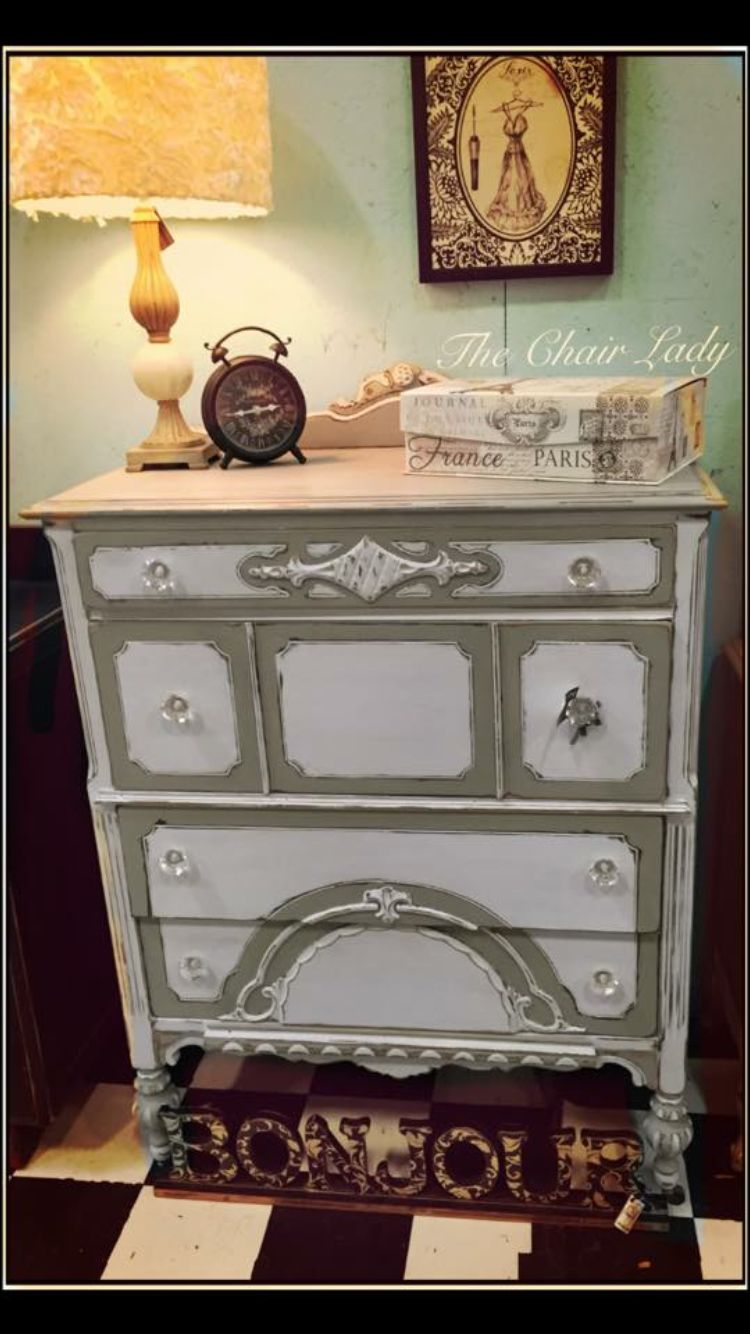 Gorgeous Antique Dresser Handpainted In Two Colors Of Chalk Paint To Highlight The Carvings And Details