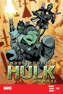 "INDESTRUCTIBLE HULK ANNUAL (2013) #1 ""JOURNEY INTO SCIENCE!""  GUEST STARRING IRON MAN!  Before BRUCE BANNER and TONY STARK became heroes, they built weapons.  But who inspired them?  One of Bruce's lab assistants has unraveled a mystery from their past.  Now SHIELD must send HULK and IRON MAN to retrieve one of the greatest weapon designers of all time.  Will they come back as weapons of mass destruction themselves?"