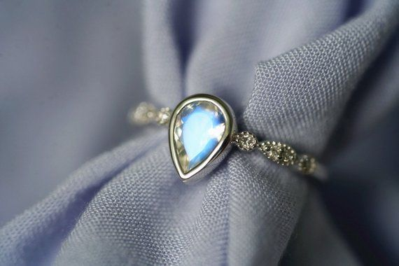 Moonstone Engagement Ring Set Blue Moonstone Engagement Ring Wedding