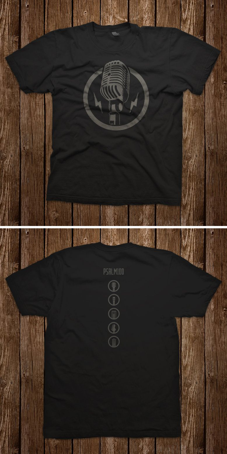 d9d6e7c9 This crew neck praise and worship t-shirt features an encircled vintage  microphone and lightning bolts on the front. The back features Psalm 100  and the ...