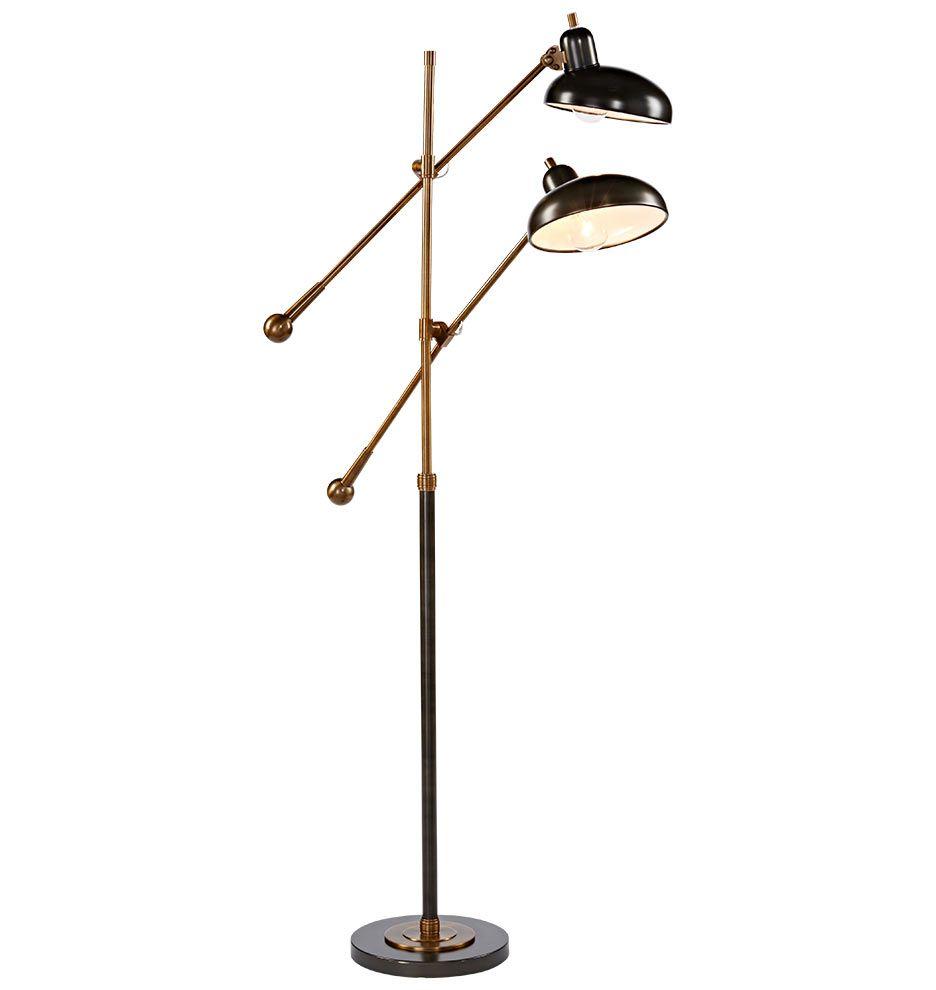 Bruno double arm floor lamp floor lamp arms and task lighting bruno double arm floor lamp mozeypictures Images