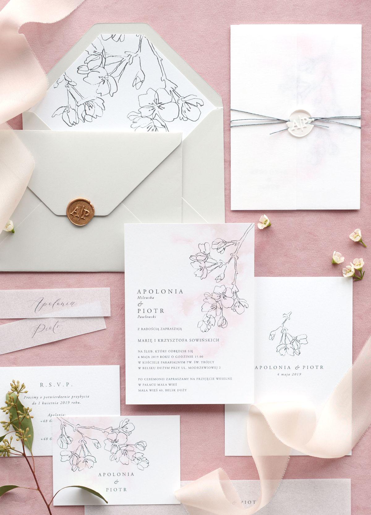 Goodlove Studio Kolekcja Blossom Delikatne Różowe Zaproszenia Z