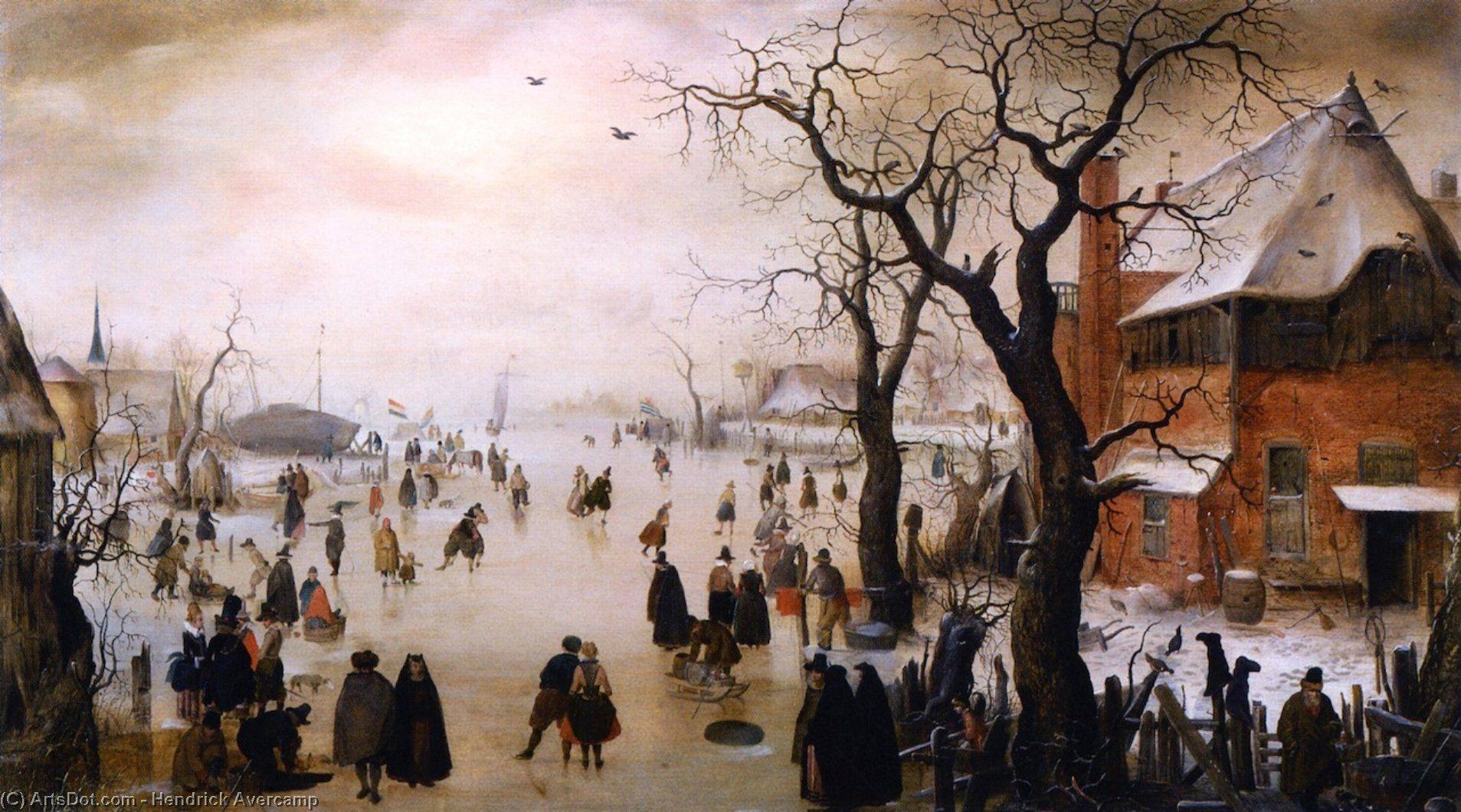 Hendrick Avercamp : Winter Landscape with Skaters near a Village ...
