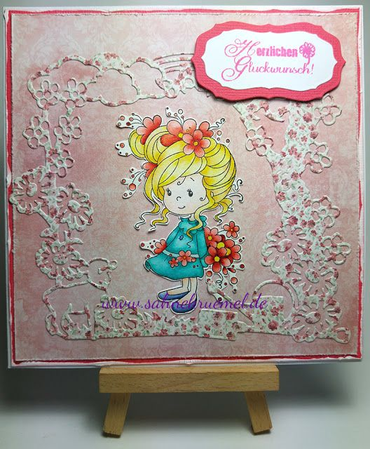 """Jillian and Friends"""" Whimsy Stamps; Die """"Gartenrahmen"""" Amy Design; Sentiment """"Texte Glückwunsch Deutsch"""" Craft Emotions; """"Multi Frames Oval"""" Nellie Snellen; Paper Pad """"Summertime"""" Maja Design; colored with TwinklingsH2O // Birthday day card"""