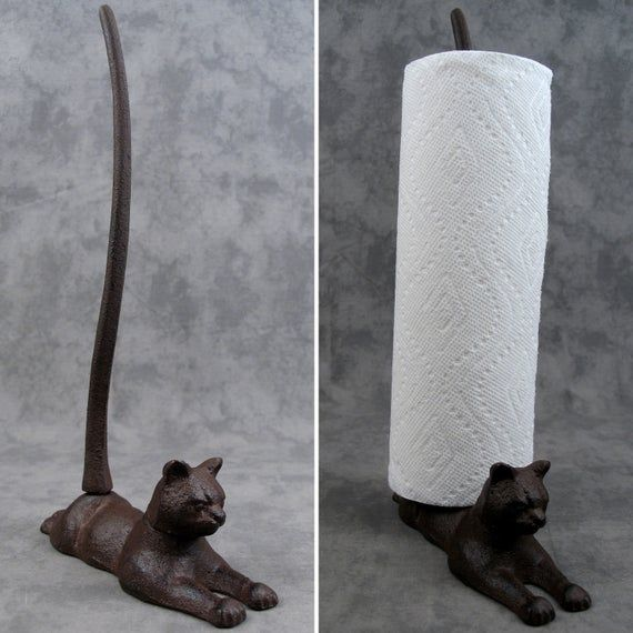 Resting CAT Cast Iron Kitchen PAPER TOWEL Holder #papertowelholders