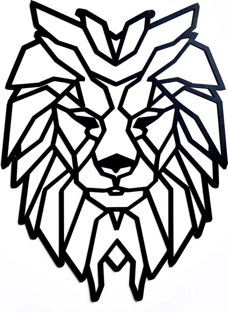 Lsrdsgn Geometrische Leeuw Zwart 68x49 Cm Leeuwenhoofd Dieren Wanddecoratie Geometrisch Dieren Leeuw