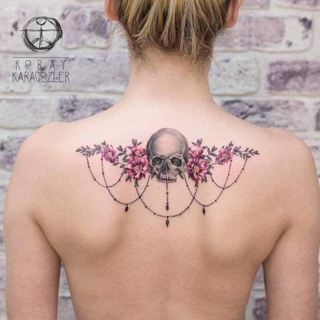 Tatouage De Femme Tatouage Tete De Mort Aquarelle Sur Dos