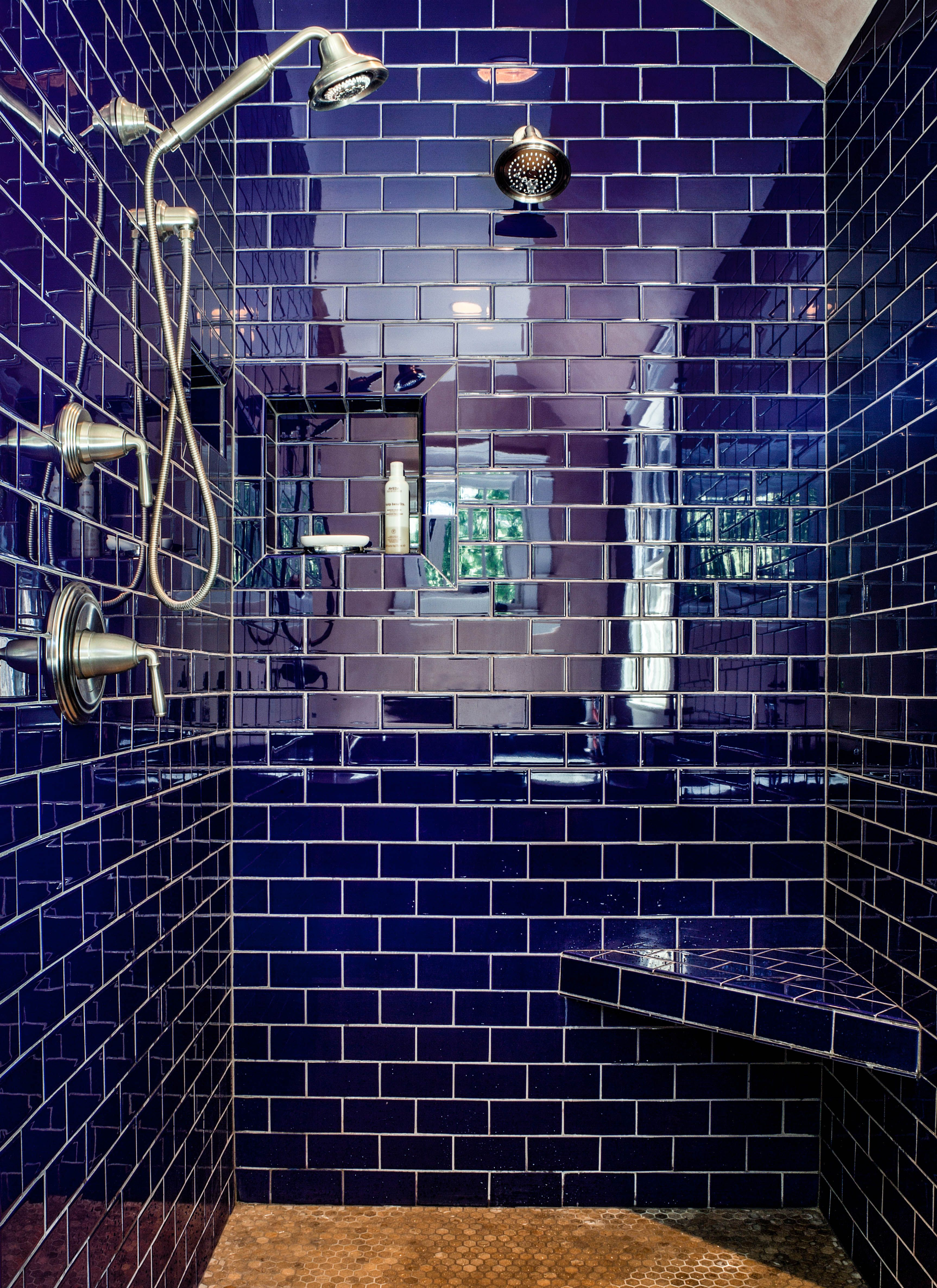 Can\'t get enough of this cobalt blue! Master Bath Shower. Dual ...