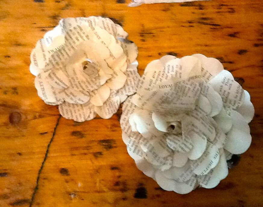 Strung together for a garland: The Mad Recycler: Recycled Book Page Flower Tutorial