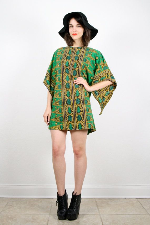 Vintage L Boho Green Yellow Black Striped by ShopTwitchVintage, $39.99
