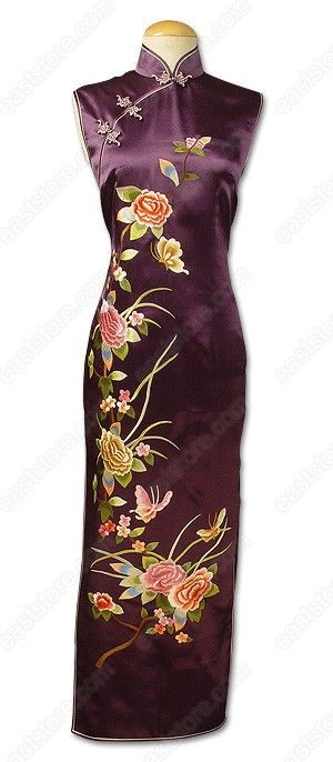 Mandarin collar.  Chinese treated frog button.  Invisible back zipper.  Sleeveless.  2 side slits.  Fully lined.  Peony embroidered.  Ankle length.
