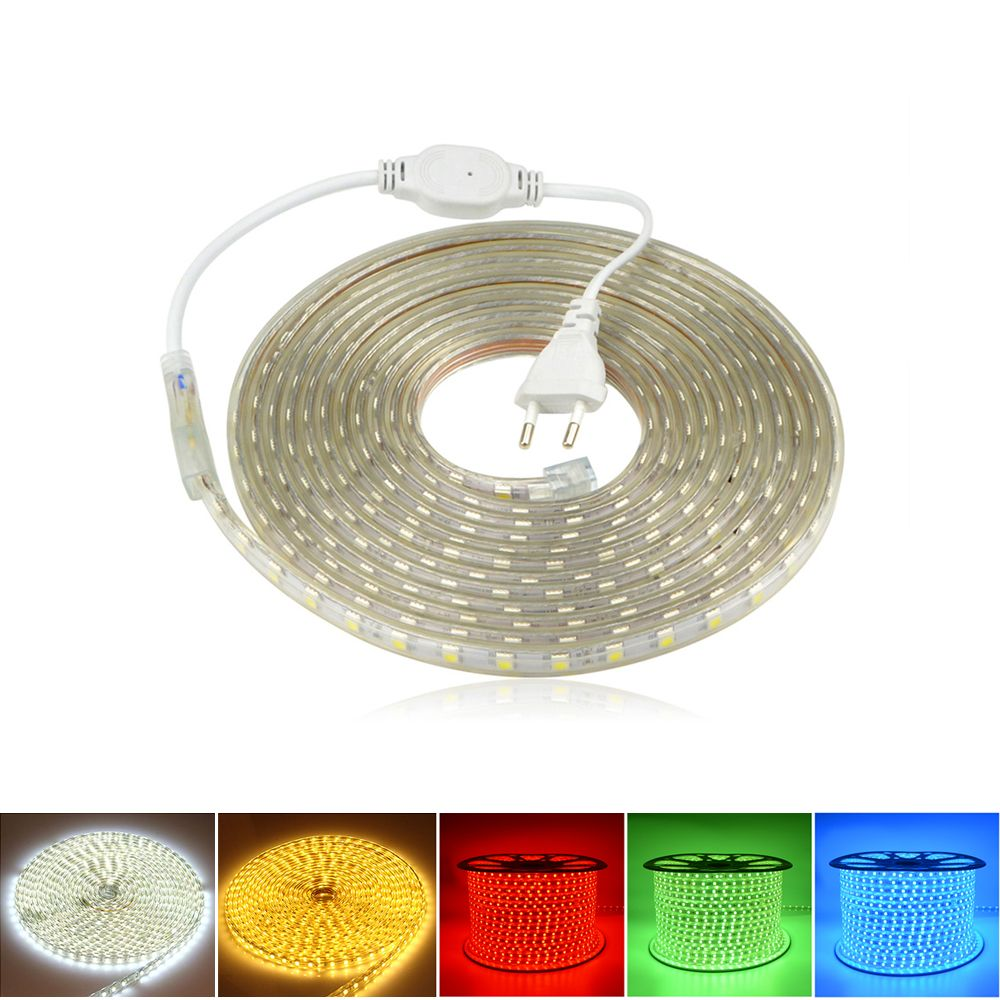 220v 60leds M Smd 5050 Ip67 Waterproof Led Strip Flexible Light 1m 2m 3m 4m 5m 6m 7m 8m 9m 10m 11m Flexible Led Light Waterproof Led Led Under Cabinet Lighting