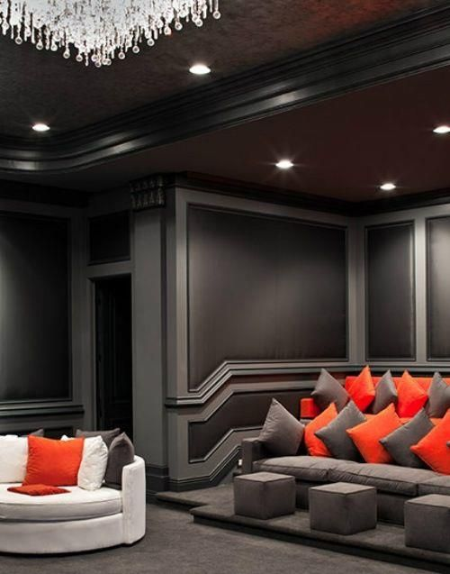 Grey And Black Theater Room Home Theater Rooms Home Home