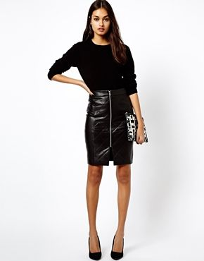 Leather Skirt With Zip At Front | Jill Dress