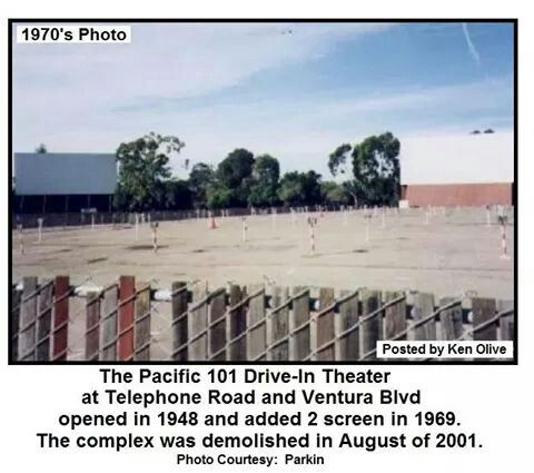 The 101 Drive In Theater 1970 S It Was Torn Down 2001