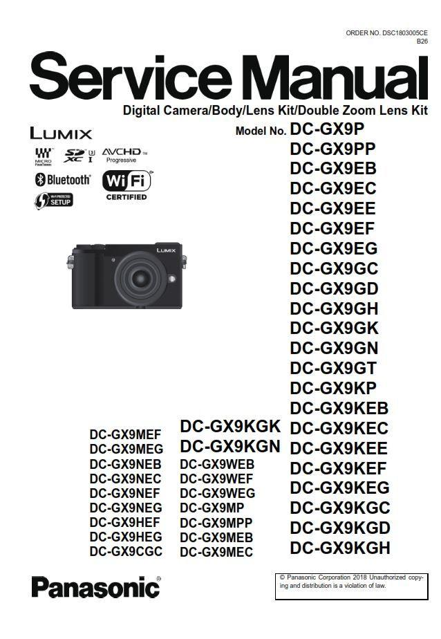 Panasonic Lumix Dc Gx9 Service Manual And Repair Guide