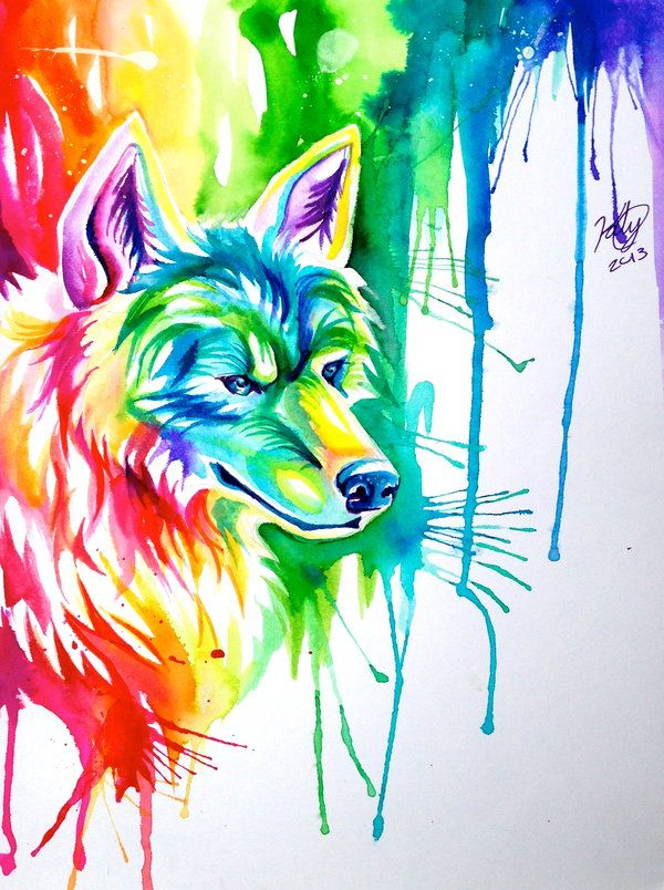Rainbow Wolf Commission By Lucky978 Deviantart Com On
