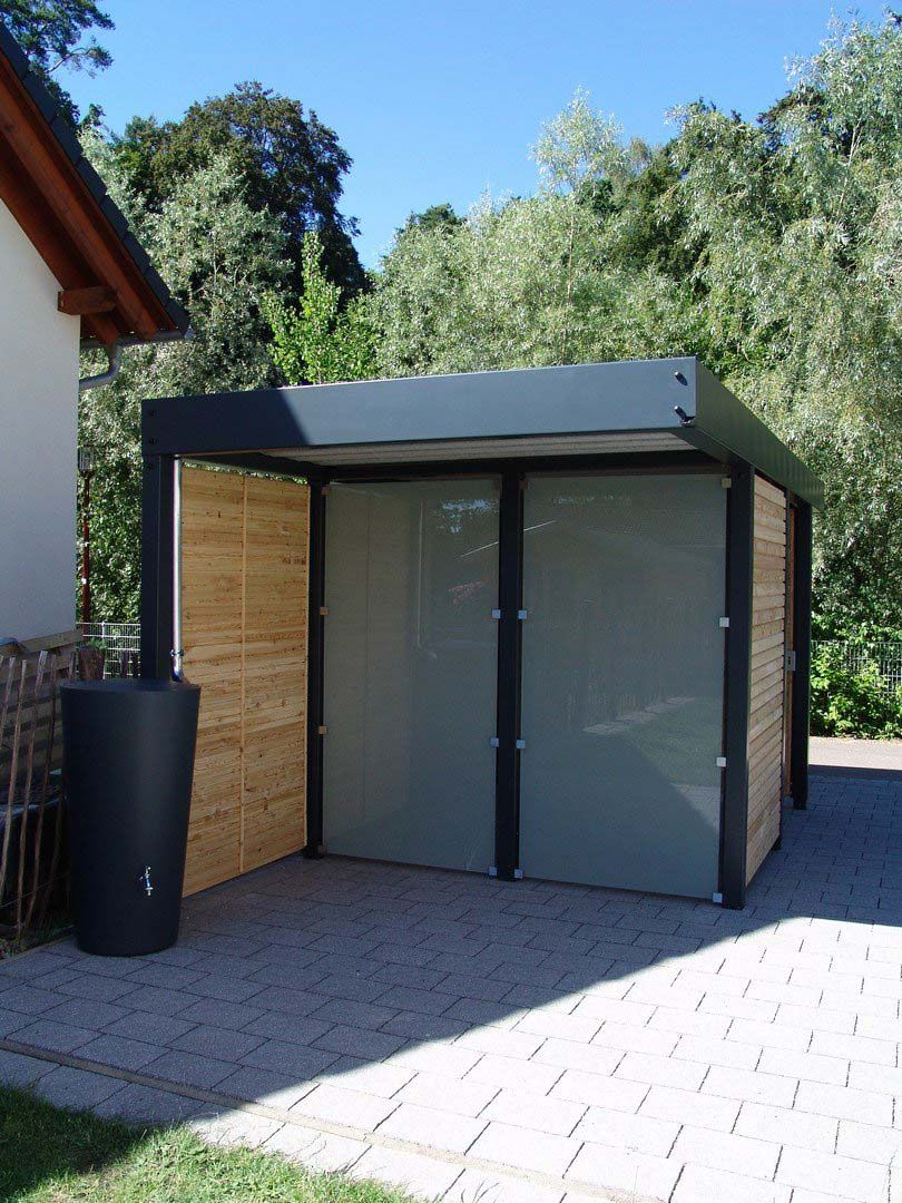 Gerätehaus Holz Metall anthrazit Flachdach modern