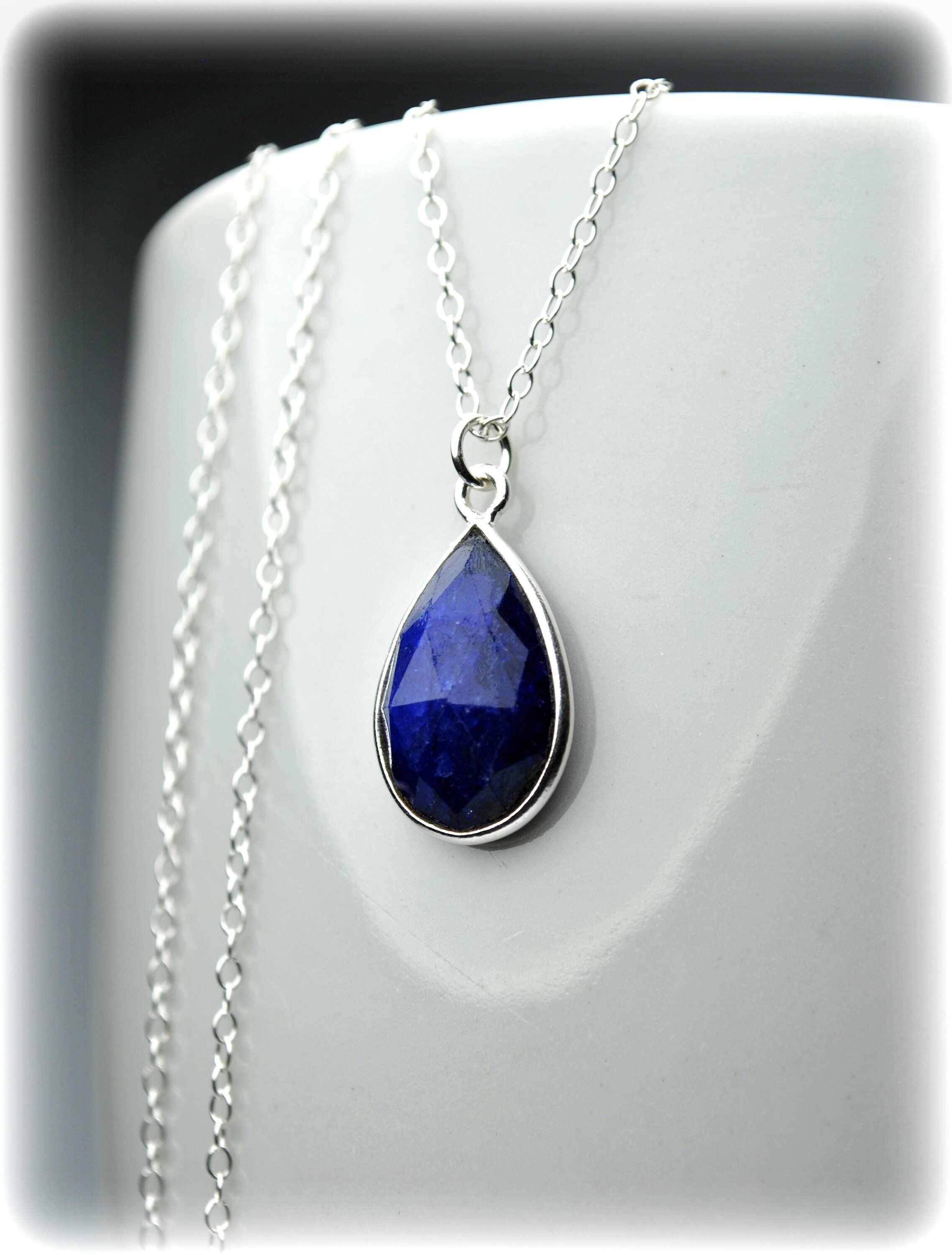 Sapphire Necklace Sapphire Blue Necklace 14k Gold Fill
